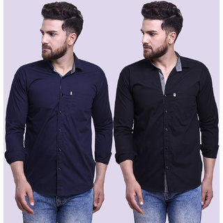 29K Mens Slim Fit Navy Black Cotton Casual Shirts