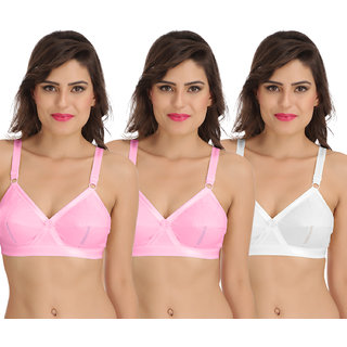 Sona Perfecto Women White Full Cup Everyday Dream Fit for Ample Bust Lines Plus Size Cotton Bra- Full Coverage Non Wired, Non Padded Pack of  3