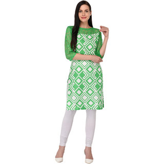Drapes Women's Kurtis Multicolor 3/4 Sleev with net neck Cotton Fabric