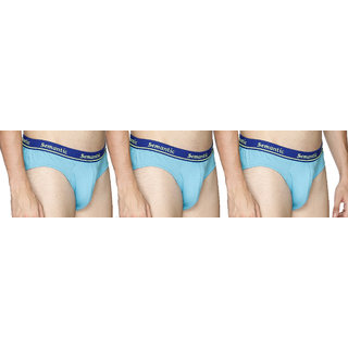 Semantic Pack of 3-100% Cotton Plain Brief for Mens - Sizes S (Small) 70-75 cm Underwear in Light Blue Color with Regular Rise & Elastic Waistband by MUR003-01P3