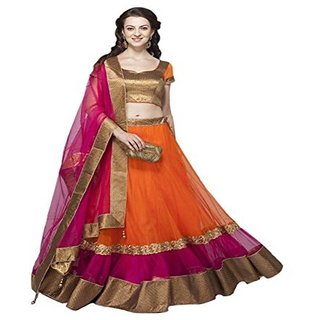 Payal Fashion Womens Semi Stitched Lehenga choli in Net Fabric with Blouse  Dupatta (Orange Color)