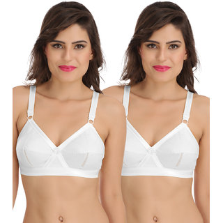 Sona Perfecto Women White Full Cup Everyday Dream Fit for Ample Bust Lines Plus Size Cotton Bra- Full Coverage Non Wired, Non Padded Pack of  2