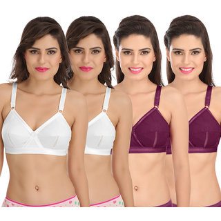 874111170a Buy Sona Perfecto Women White Full Cup Everyday Dream Fit for Ample Bust  Lines Plus Size Cotton Bra- Full Coverage Non Wired