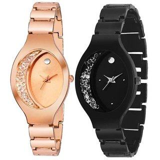Bollywood Designer Mxre Black With Rose Gold  Womens Watches Ladies Watches Girls watches