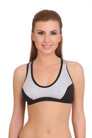 Fashion Comfortz Women's Cotton Lycra Plain Black Sports Bra