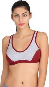 Fashion Comfortz Women's Cotton Lycra Plain Maroon Sports Bra