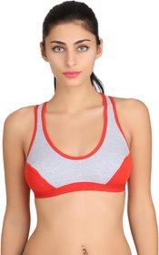 Fashion Comfortz Women's Cotton Lycra Plain Red Sports Bra