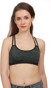 Fashion Comfortz Women's Cotton Lycra Plain Green Sports Bra