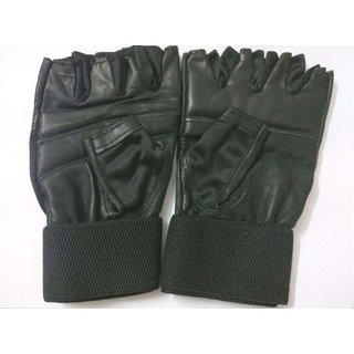 Wintex Regular Daily Use Leather Gym/Weight Lifting Gloves With Wrist Wrap Support (Free Size for Above 14 Years Age)