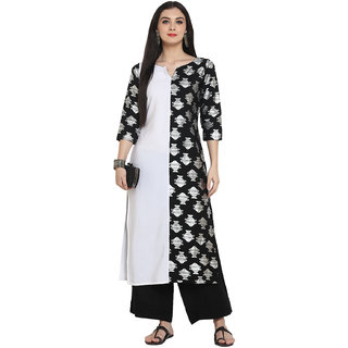 2d41cc6aca5 Buy Ziyaa Women s Black Color Straight Foil Print Kurta palazzo set ...