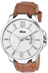 Diox- 4365 White Dial Day And Date Analog Watch For Men