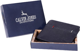 CalvinJones Men's Navy Blue - Genuine Leather Wallet