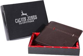 CalvinJones Men's Brown - Genuine Leather Wallet