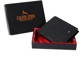 CalvinJones Men's Black - Genuine Leather Wallet