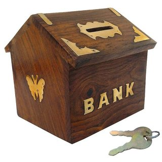Desi Karigar Brown Wooden Piggy Bank