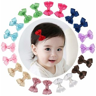 Barbie Style Mini Hair Bow Clips Barrettes For Baby Girls Toddlers ( 10 Pair - 20 pcs. )