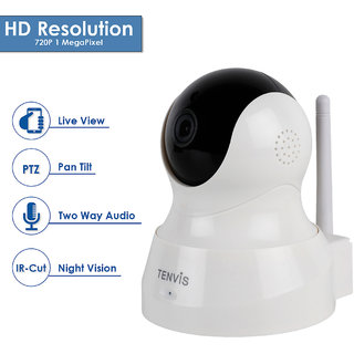D3D Tenvis Wireless HD IP WiFi CCTV Indoor Security Camera (Support Upto 128 GB SD Card) (White Color) ModelTH661