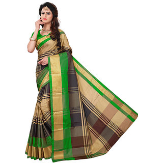 Dwarkesh Fashion Green Color Cotton Silk Printed Saree With Matching Blouse Piece(dfsb-114)