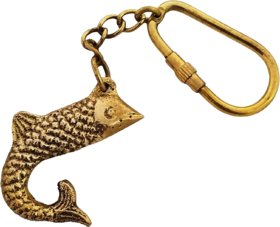 Nautical Brass Metal Fish Keychain