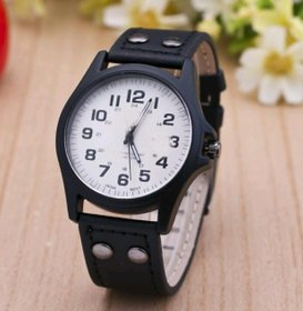 New Generation White Dial And Black Strap Casual Wrist