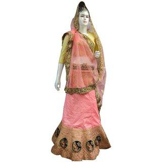 Indian Boutique Silk Floral Print Designer Lehenga (Pink) For Women