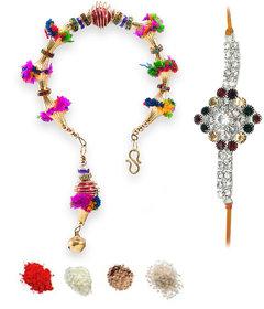 ShadowFax Designer Floral Lumba  Stone Rakhi Set