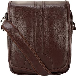 BumBart collection Artificial Leather Cross-Body Big Sling Bag for Men/Boys - Dark Brawn (L x B x H 30 x 25 x 7 cm)