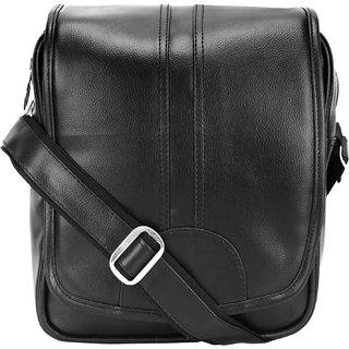 BumBart collection Artificial Leather Cross-Body Big Sling Bag for Men/Boys - Dark Black (L x B x H 30 x 25 x 7 cm)