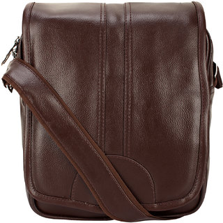 4690a7aad1 BumBart collection Artificial Leather Cross-Body Big Sling Bag for Men/Boys  - Dark Brawn (L x B x H 30 x 25 x 7 cm)