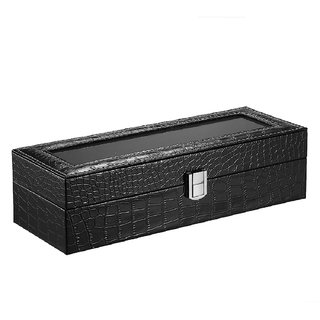 Luxury 6 Slot Watch Organizer Storage Box Glass Top PU Leather Watch Display Case Black Crocodile-Like Texture W/ Pillow