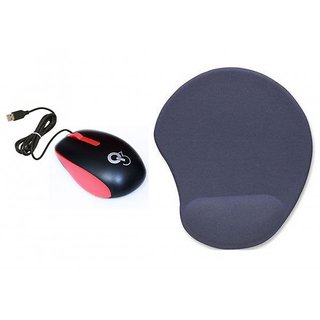 Q8N High Speed Ergonomic Design USB Red Mouse With Wrist suppport Blue Mousepad