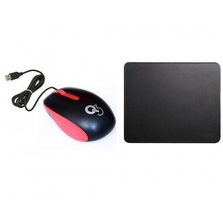 Q8N High Speed Ergonomic Design USB Red Mouse With Mousepad