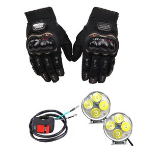 THE ONE CUSTOM Combo of Pro Biker Gloves And 4 Led Fog Light For All Bikes With On Off Switch