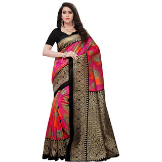 Swaron Pink Poly Silk Graphic Printed Saree