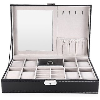 Luxury Genuine Leather 3 In One 8 Grids Watches+ Jewellery+Mirror Storage Organizer Box And Ring Collection Boxes Black