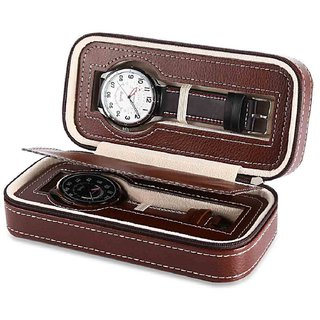 2 Grids Watch Boxes Genuine Leather Wristwatch Box Display Jewellery Storage Organizer Travel Watch Case