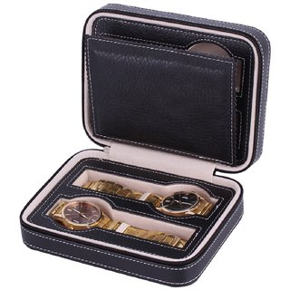 Luxury Black Zippered Sport Storage Watch 4 Case Organizer Leather Watch Travel Case For Four Watches Velvet Lining