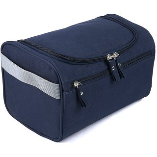 House of Quirk Hanging Fabric Travel Toiletry Bag Organizer and Dopp Kit (16 cm x 10.01 cm x 3 cm, Navy Blue)
