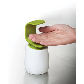 House of Quirk C-Pump Single Handed Soap Dispenser, (White and Green)