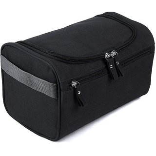 House of Quirk Hanging Fabric Travel Toiletry Bag Organizer and Dopp Kit (16 cm x 10.01 cm x 3 cm, Black)