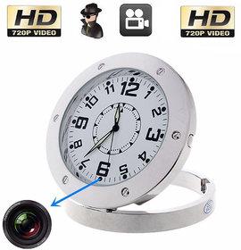 MINI HIDDEN 720P ANALOG TABLE CLOCK SPY CAMERA  FULL METALLIC