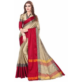 Meia Women's Cotton Silk Saree With Blouse Piece (Pack of 1 )