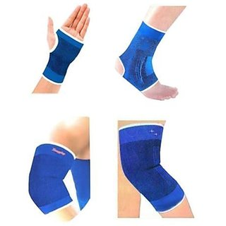 Fitness Fitness Accessories Combo Ankle/ Knee / Elbow / Palm Support Pairs for GYM Exercise Grip - Blue