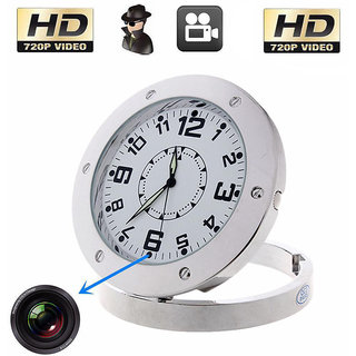 MINI HIDDEN 720P ANALOG TABLE CLOCK SPY CAMERA  FULL METALLIC