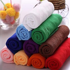 MINDER New Super Pack Of 10 pcs. Multicolour Face Towel / Female Girls Super Soft Hankey Collection