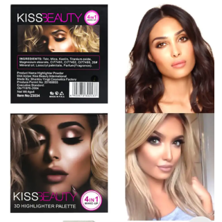 Kiss Beauty 3D highlighter pallete 4 shades high quality imported product