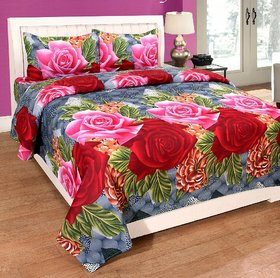 Craftwell 3d Bedsheet with 2 Pillow cover (pink and red roses on grey base)