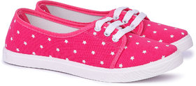 Vonc Pink Canvas Shoes For Women