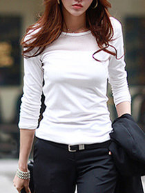 Rosella Plain Round Neck Basic White Full Sleeves Cotton Lycra Casual Women's T-Shirt