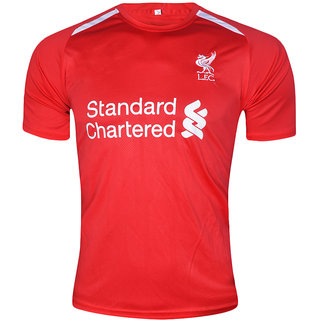 Liverpool FC Football Team Red Polyester Dry Fit Half Sleeve Jersey